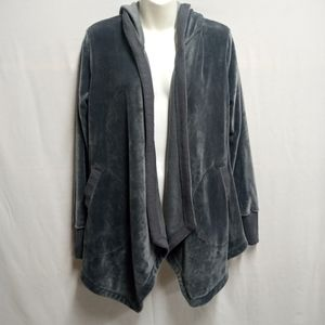 Simply Vera Wang Gray Velvet Open Front Cardigan